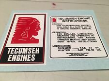 Tecumseh Engine-decals H50 H60 HM80 minibike Tiller Mower White Set 2 *