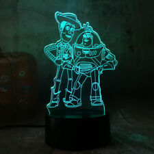 TOY STORY WOODY BUZZ LIGHTYEAR 3D Night Light 7 Color Chang Lamp Table Gift