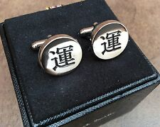 PAUL SMITH POLISHED SILVER TONE JAPANESE SYMBOL (LUCK/FORTUNE) CUFFLINKS BNIB