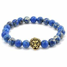 Men Natural Blue Sea Sediment Jasper Stone Beads Bracelet Gold Lion Charm B N2T2