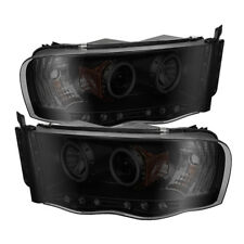 Dodge 02-05 Ram Black Smoke CCFL Dual Halo LED Projector Headlights Head Lamp