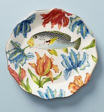 NEW! Beautiful ANTHROPOLOGIE Fish Nature Table Dessert Plate 8 inches Lou Rota