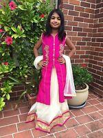 "30"" Age 7 - 8 Size Lehenga Choli Indian Bollywood Kids Dress Girls Skirt Pink"