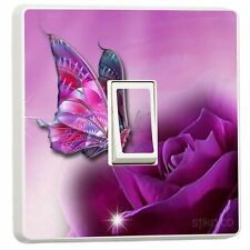 Purple butterfly interrupteur de lumière autocollant vinyle/couverture de peau sw19
