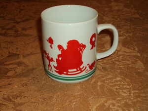 Avon 1984 CHRISTMAS Santa Mr. Claus Red White Green MUG