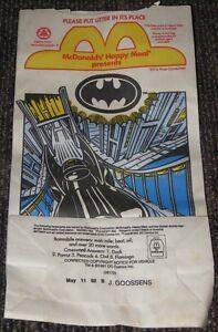 1991 Batman McDonalds Happy Meal Bag