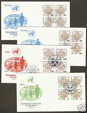 UN NY #417-18/Geneva 121/Vienna 39 - Population Set of 4 Artmaster B4FDCs