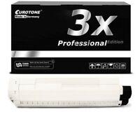 3x Eurotone Pro Cartridge Black for Oki C-801-N C-801-DN C-821-N C-821-DN