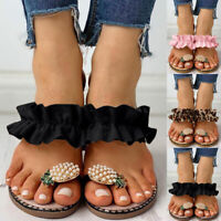Womens Ladies Flats Toe Ring Slip on Mules Sliders Sandals Flip Flop Slippers