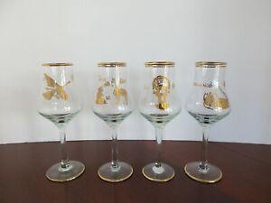 Set of 4 VTG Shot Glasses Etched Gold Gilt Elegant Glass Peruvian Designs 4 oz.