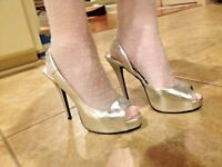 Silver Sling Back Heels by Diba East Tori - Perfect for a Bride or Prom  (7.5 M)