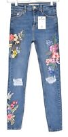 Topshop Skinny JAMIE High Rise Blue FLORAL EMBROIDERED Ripped Jeans 8 W26 L32