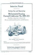 Farmall H and M HM 221 Cultivator Operators Manual IH