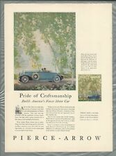 1930 PIERCE ARROW advertisement, color art, Roadster