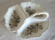 Antique 3-Section Trefoil Dish with Handle - Violets Design - Early 20th Century