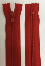 Pack of 5-YKK Red No 5 Closed End Nylon Zips 38cm - Best Value (0.50p Per Zip)