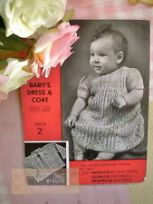 Vintage 1930s Knitting Pattern Baby Girls Dress & Coat Lace LOOK Design.