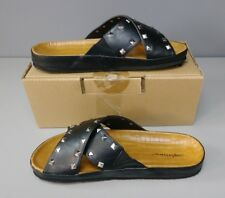 Comfortview Women's Gia Footbed Sandal Black Studded Size 7.5W New