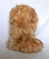 Beige Baby Alpaca Slipper Boots. Unisex. Handmade on Baby Alpaca Fur. 6-10