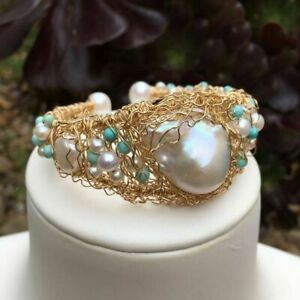 Unique style Natural Baroque White freshwater pearl Bracelet Original work AAA