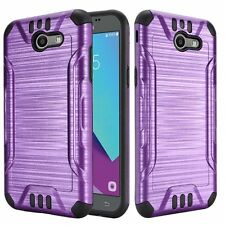 SAMSUNG GALAXY J3 EMERGE 2017 PURPLE BLK BRUSHED ARMOR CASE RUGGED IMPACT COVER