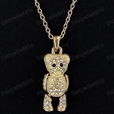Lindo Moving extremidades Cristal Oso De Peluche Colgante necklace&chain Oro pltd Rhinestone