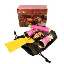 HQRP Theater Opera Glasses 3x25 Optics Pink / Gold Binoculars with Handle