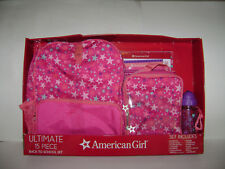 NEW AMERICAN GIRL DOLL ULTIMATE 15 PIECE BACK TO SCHOOL BACKPACK LUNCH BOX SET