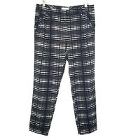 NY&C New York and Company Stretch Women's 6 Ankle Slacks Pants Black Plaid