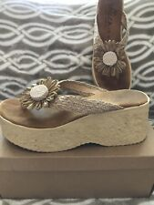 Sbicca Wedge Jute Daisy Sandals Women's Size 8M