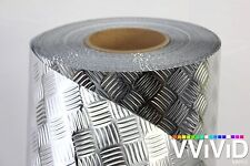 "Industrial Diamond Panel Chrome Metallic Vinyl Decal Film DIY Roll 17.8"" x 6.5ft"