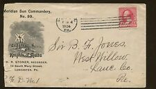 1904 Lancaster Meridian Sun Commandery Knights of Malta Advertising Cover