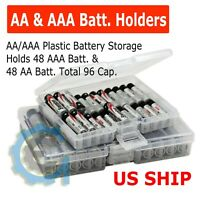 Clear AA/AAA Plastic Battery Storage Case/Organizer/Holder Holds 96 batteries