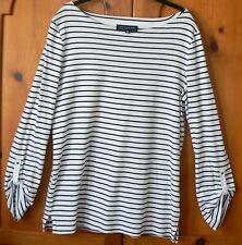 JONES NEW YORK - Black & White Stripe 100% Cotton Top - SIZE XL