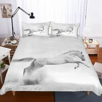 3D White Jumpping Horse Quilt Cover Set Bedding Duvet Cover Single/Queen/King 0