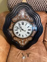 RARE Antique c1800s French Clock Glass Face Ebonized Mother of Pearl Wall Clock