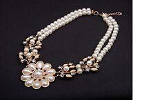 Women's Gold Plated Pearl Rhinestone Flower Leaves Choker Necklace Jewellery UK