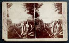Antique ISLAND PANORAMA of CEDAR KEY FLORIDA Stereoview Card REAL PHOTO