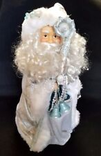 """Santa Tree Topper Silver Blue Old World Victorian Father Christmas Large 12"""""""