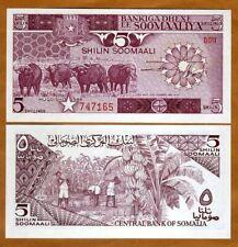 Somalia, 5 shillings, 1986, P-31b, UNC > Buffalo, Banana Harvest