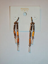 NWT Fossil Rose Goldtone Rectangle Link Double Chain Dangle Earrings