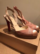 Christian Louboutin Shoes, Nude Satin Heels With Tie Round Ankle. Uk 5.5