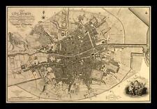 FRAMED Map of The City of Dublin 1797 18x12 Ireland Art Print Poster