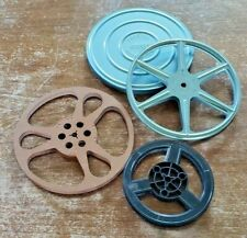 VINTAGE LOT OF 3 ASSORTED FILM REELS METAL/PLASTIC + 1 METAL CANISTER