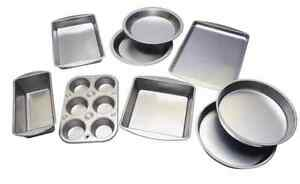 8 Piece Set of Bakeware Steel Pans Pizza Cake Brownie Muffin Cookie Loaf Pie NEW
