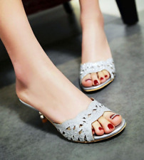Women Summer Low Kitten Heel Slip On Rhinestone Cut-out Casual Solid Flip Flops