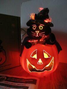 Halloween Fiber Optic Color Changing Witch Cat in Jack O Lantern Pumpkin Decor