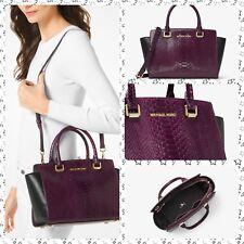 NWT Michael Kors Selma Embossed Leather Satchel Handbag Damson/Black