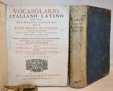 1792 DIZIONARIO ITALIANO-LATINO e LATINO-ITALIANO 2 volumi Roma Frasi Proverbi