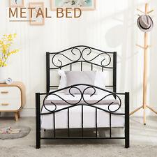 Heavy Duty Twin Size Metal Bed Frame w/Headboard & Footboard Girls Bedroom Black